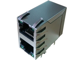 China ARJM21A1-805-BA-CW2 2X1 Ethernet Stacked Rj45 Jack With 2.5G Base - T Magnetic supplier