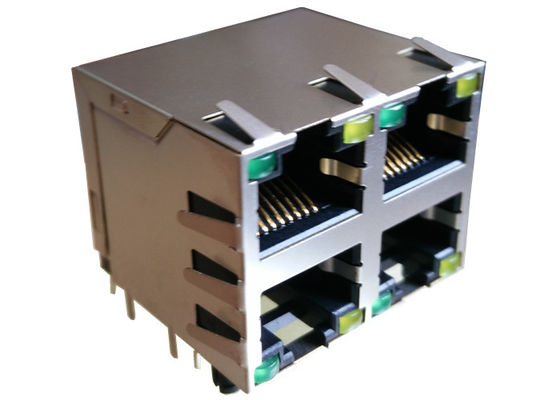 China ARJM22A1-A12-BA-CW2 Equivalent Stacked 2x2 RJ45 Connector With 10/100 Base - T supplier