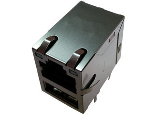 China 0821-1G1T-43-F RJ45 USB Connector Conn Magjack 2Port 1000 Base-T Shielded supplier