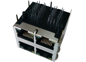 China ARJM22A1-A12-AB-EW2 Equivalent Stacked 2x2 RJ45 Connector 10/100 Base - T supplier