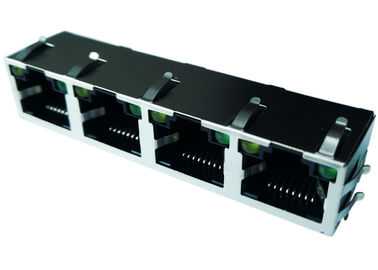 China LPJE401AHNL Cross XRJM-S-04-8-8-4-F2 Jack 4x Rj45 ,8P8C R/A With LED supplier