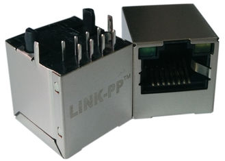 China LPJD4012BENL , Vertical RJ45 Jack , 1CT:1CT, 8P8C 10/100Mbps, Shield LED G-Y supplier