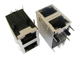China ARJM21A1-805-AB-CW2 Equivalent Stacked 2x4 RJ45 Connector With 2.5G Magnetic supplier