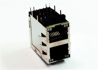 China ARJM21A1-805-BA-EW2 2x1 Port 2.5GM Stacked RJ45´s With Separated CT With LEDs supplier