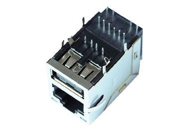 China 1-1840012-2 Gigabit RJ45 USB Connector Rj45 Stacked With USB LPJU3836AONL supplier