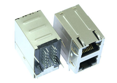 China RJSAE-538A-02 2X1 Stacked Rj45 With LED Ethernet Shield Connector LPJE1063A4NL supplier