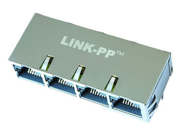 China RTC-134AAK1A 1x4 Side Entry Multi - Port RJ45 Receptacle With LEDs LPJGF47405A8NL supplier