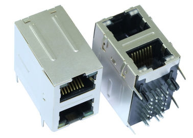 China 101210F90SPM416ZA Stacked RJ45 2x1 Magnetics Connector With LEDs LPJ17409-7A8NL supplier