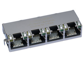 China Ultra Low-Profile RJ45 Jack , 1x4 Port Shield W/LED Cat5e Ethernet Connector supplier