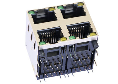 China RJSAE-5381-A4 2x2 Ethernet Stacked Rj45 Jack With LED R/A Shield LPJE107XAHNL supplier