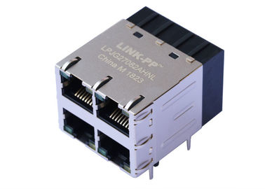 China 4 Ports Gigabit POE RJ45 Connector Magjack 1000Base-T With LED LPJG27082AHNL supplier