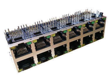 China J0B-3448NL 2x6 Ethernet Stacked Rj45 Jack With POE 1000 Base-t Magnetic supplier
