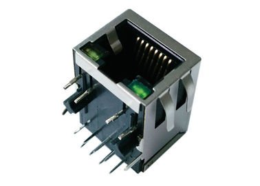 China LPJ4012GDNL RJ45 Single Port With 10/100Mbps Right Angle Shield W/LED HR913128CE supplier