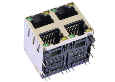 China ARJM22A1-811-BA-EW2 2X2 Stacked Rj45 Connectors 8P8C Shielded 5G Magnetic supplier