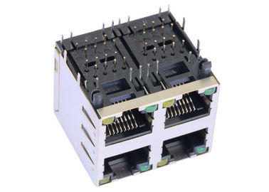 China ARJM22A1-805-BA-EW2 2x2 Port Stacked Rj45 Right Angle With 2.5G Magnetic supplier