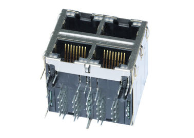 China 0895-2S2R-FM Stacked RJ45 2X2 With 10 / 100 Base - T Connector LPJG27043A4NL supplier