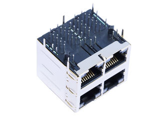 China ARJM22A1-A12-BB-EW2 Stacked 2x2 Port RJ45 Magjack 10/100 Base - T Shielded supplier