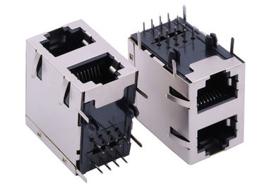 China ARJM21A1-805-NN-CW2 Stacked port RJ45 2X1 Tab Down 2.5G Base-T Ethernet supplier