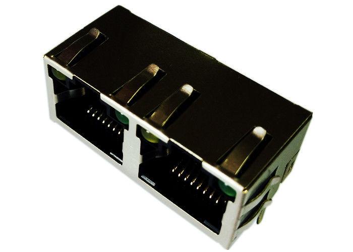 LPJE201A47NL Cross 2 xRj45 XRJM-S-02-8-8-A Female Jack 8P8C Shield W/LED