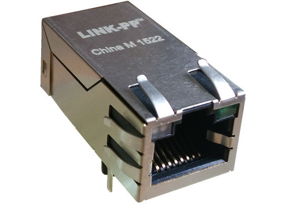 China 0826-1AX1-47 RJ45 Magnetic Jack Dual Stuff Option Ethernet 10/100Mbps Female factory