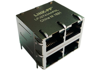 LPJ27434AFNL Stacked 2x2 RJ45 Cross XMH-2216D3042-1 Connector 4x10/100Mbps