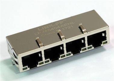 China Rj45 1x4 Quad Port LPJ46404AENL , JX80-0033NL Magnetics Ethernet Jack 10/100Mbps distributor