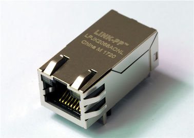 China 1000Base - T POE Magnetic Rj45 Socket Shielded W/LED Gigabit Ethernet Connector THT factory