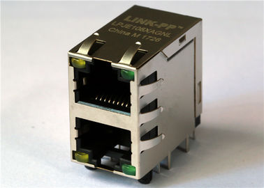 China 2x1 Rj45 With LED LPJE106XAGNL , 1x2 Ethernet, R/A Shield Connector LPJE1063A4NL distributor
