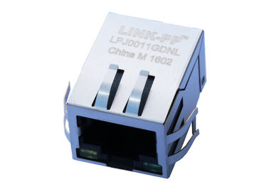 China LPJ0011GDNL Cross Euni 203198 Rj45 8C8T 1x1 Integrated Magnetic LED Aligned distributor