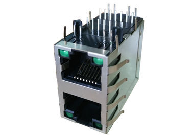 China ARJM21A1-A12-BB-EW2 10/100Base-T Ethernet Rj45 2X1 ports Stacked With Leds factory