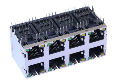 China ARJM24A1-A12-AB-EW2 Stacked RJ45 2x4 With 10/100 Base-T Magnetics Connector factory