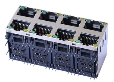 China 2x4 Port Stacked ARJM24A1-A12-BA-EW2 Rj45 Right Angle 10/ 100M Transformer factory