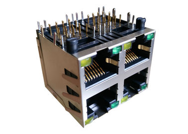 China ARJM22A1-805-BB-EW2 Stacked RJ45 MagJacks 2x2 Integrated Transformer 2.5G factory