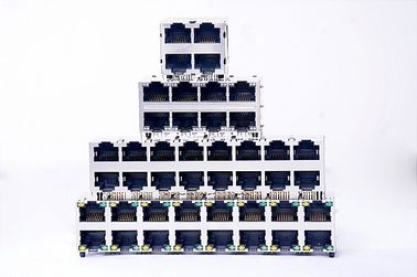 China 10 / 100BaseT Stacked RJ45 2 X 6 Port Shielded For LAN 0811-2X6P-19 factory