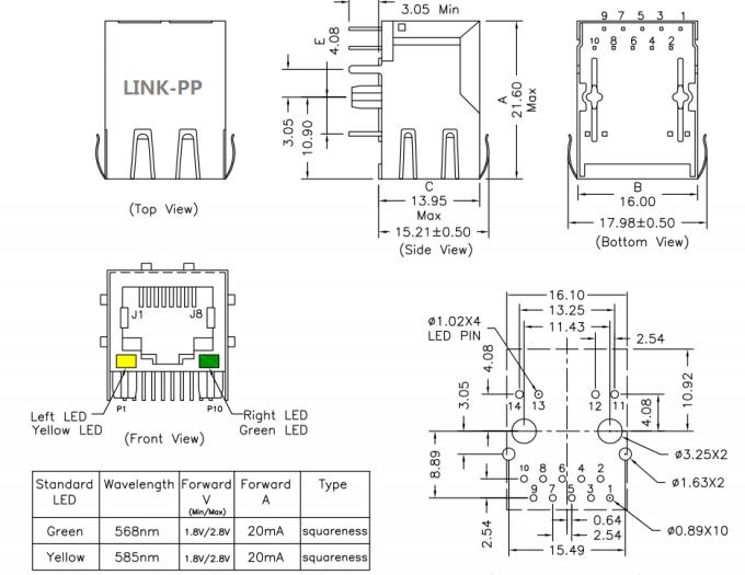 hy931147c poe rj45 connector single port magjack lpj0049gdnl 802 3af