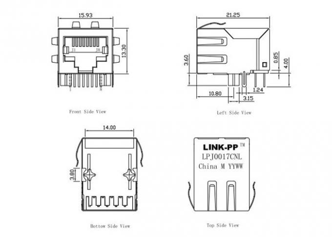HY901157C RJ45 Connector Integrated Magnetic LPJ0017CNL Without LEDS
